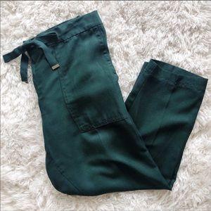 Ann Taylor Straight Drawstring Emerald Green Pants